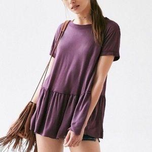 UO Truly Madly Deeply Purple Peplum Tunic Tee M